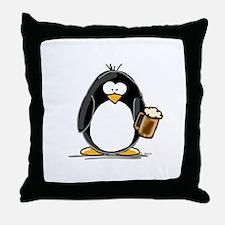 Beer Drinking Penguin Throw Pillow