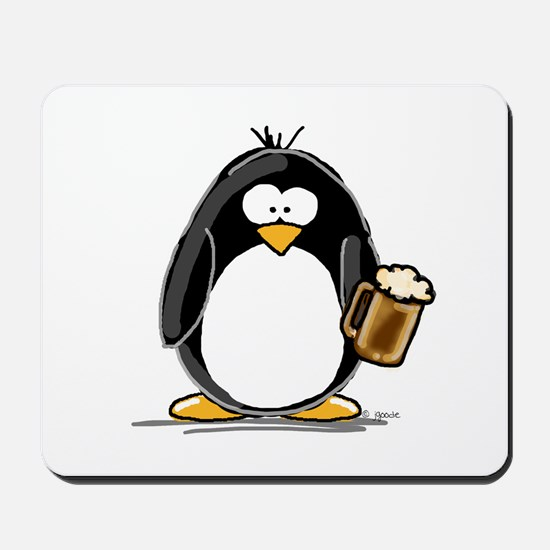 Beer Drinking Penguin Mousepad