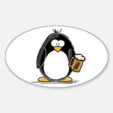 Beer Drinking Penguin Oval Decal