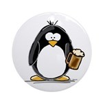 Beer Drinking Penguin Ornament (Round)