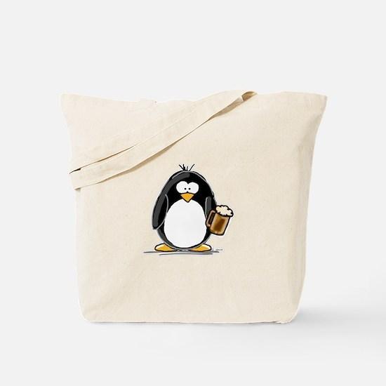 Beer Drinking Penguin Tote Bag
