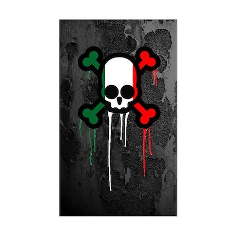 Italian Punk Skull Sticker (Rectangle)