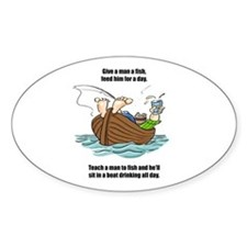 Give a Man a Fish Oval Sticker