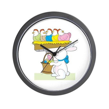 Rainbow Easter Chickens Wall Clock