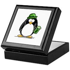 Green Beer Penguin Keepsake Box