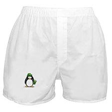 Green Beer Penguin Boxer Shorts
