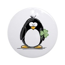 Shamrock Penguin Ornament (Round)