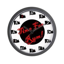 Time For Rum- Jolly Roger Wall Clock