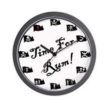 Time For Rum- Pirate Flags Wall Clock