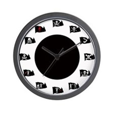 Pirate Flags-Black Spot Jolly Roger Wall Clock