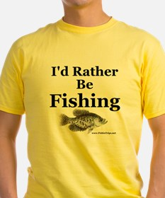 """Rather Be Fishing"" Yellow Crappie Tee"