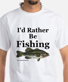 """Rather Be Fishing"" White Bass Tee"