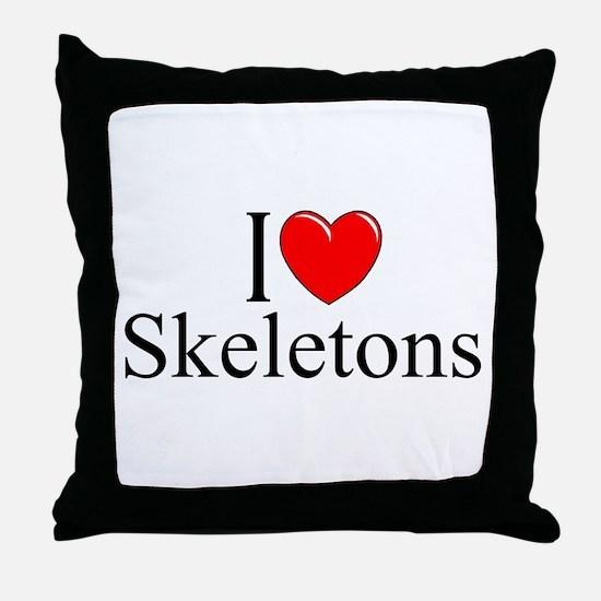 """""""I Love Skeletons"""" Throw Pillow"""