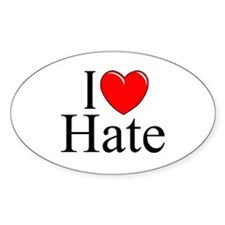 """""""I Love Hate"""" Oval Decal"""