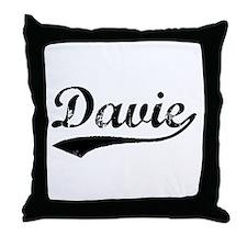 Vintage Davie (Black) Throw Pillow