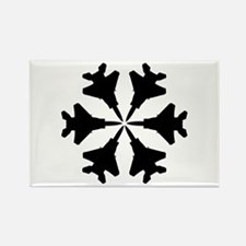 F-15 Aviation Snowflake Rectangle Magnet