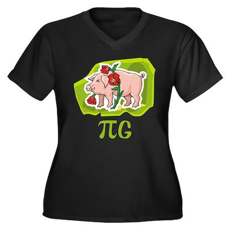 PIG Women's Plus Size V-Neck Dark T-Shirt