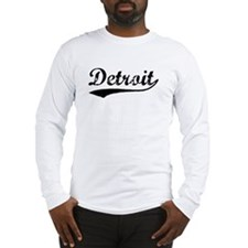 Vintage Detroit (Black) Long Sleeve T-Shirt