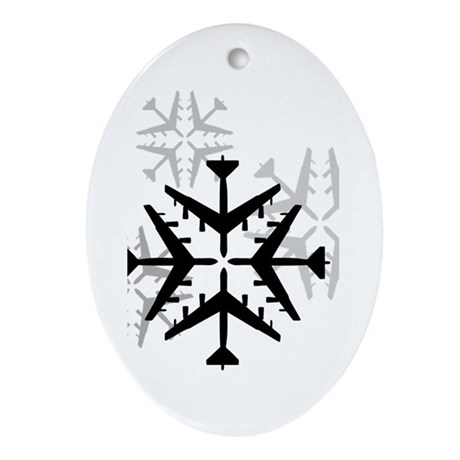 B-52 Aviation Snowflake Ornament (Oval)