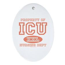 Property Of ICU Nursing Dept Nurse Oval Ornament