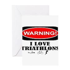i love triathlons Greeting Card