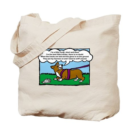 Tracking Corgi Cartoon Tote Bag