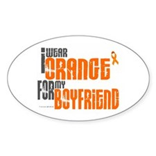 I Wear Orange For My Boyfriend 6 Oval Decal