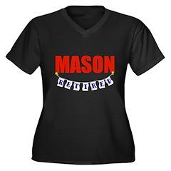 Retired Mason Women's Plus Size V-Neck Dark T-Shir