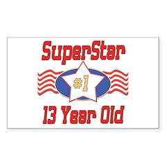 Superstar at 13 Rectangle Decal