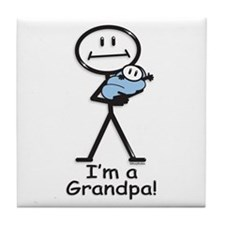 New Grandpa Baby Boy Tile Coaster