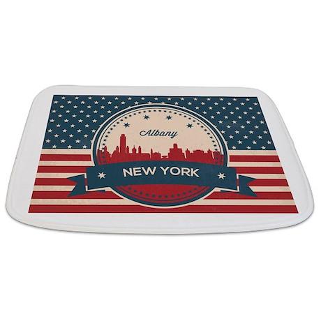 Albany New York Retro Skyline Bathmat