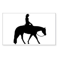 Western silhouette female Rectangle Decal