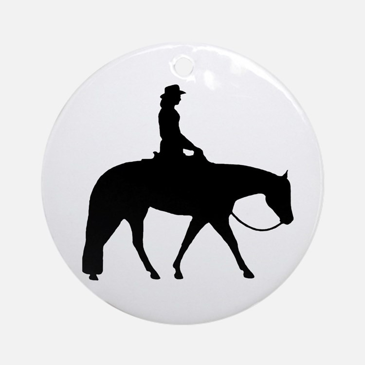 Western silhouette female Ornament (Round)