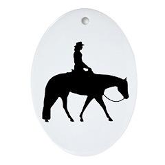 Western silhouette female Oval Ornament