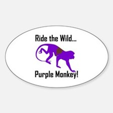 Ride the Wild Purple Monkey Oval Decal