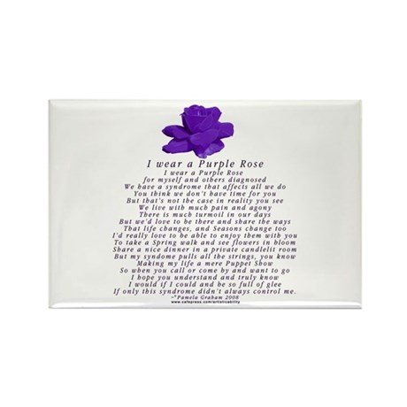I Wear a Purple Rose Rectangle Magnet