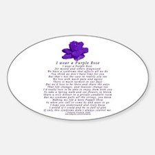 I Wear a Purple Rose Oval Decal