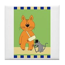 Get Well Cat Tile Coaster