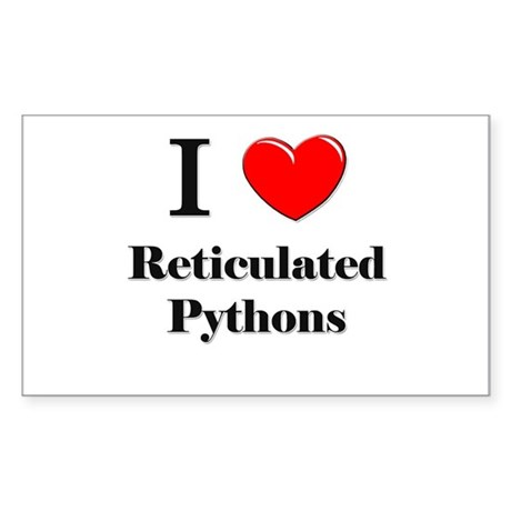 I Love Reticulated Pythons Rectangle Sticker