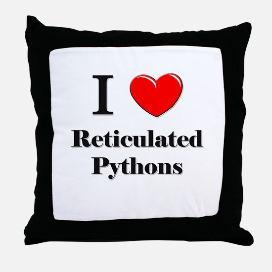 I Love Reticulated Pythons Throw Pillow