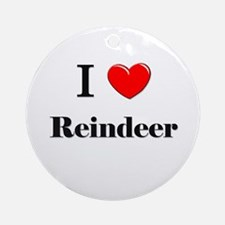 I Love Reindeer Ornament (Round)