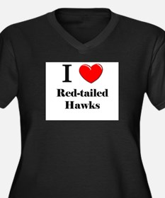 I Love Red-tailed Hawks Women's Plus Size V-Neck D