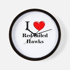 I Love Red-tailed Hawks Wall Clock