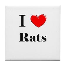 I Love Rats Tile Coaster