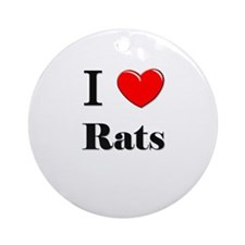 I Love Rats Ornament (Round)