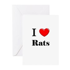 I Love Rats Greeting Cards (Pk of 10)