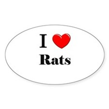 I Love Rats Oval Decal