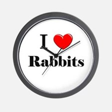 I Love Rabbits Wall Clock