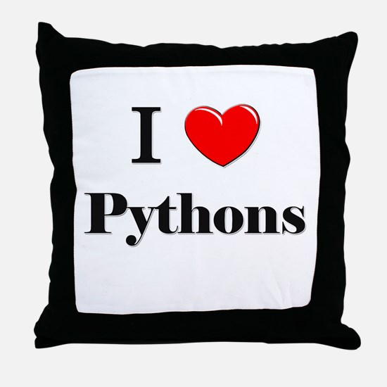 I Love Pythons Throw Pillow