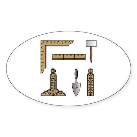 Masonic Working Tools Oval Sticker